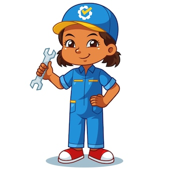 Mechanic Girl Holding Wrench Ready To Fixing.