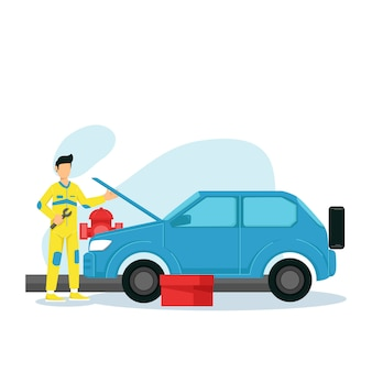 The mechanic holds a wrench with a broken car