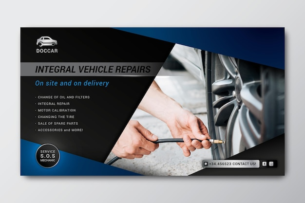 Mechanic horizontal banner template