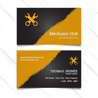 Mechanic hub horizontal business card template