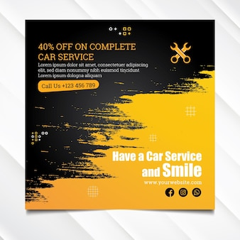 Mechanic hub square flyer template