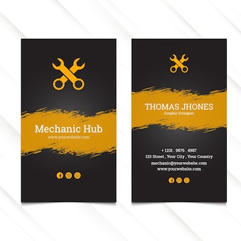 Mechanic hub vertical business card template
