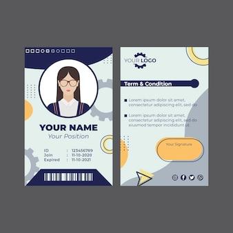 Modello di carta d'identità del meccanico
