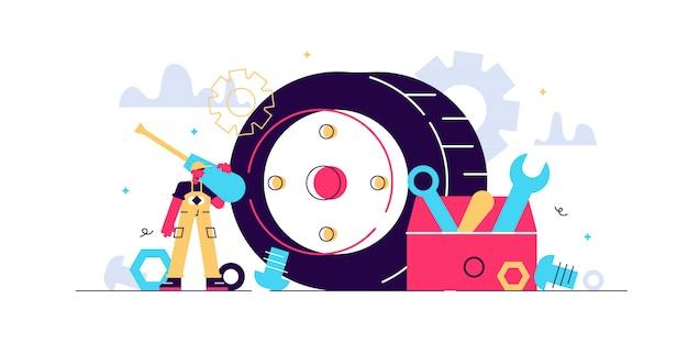 정비사 그림. 작은 기술 직업 명 개념입니다. 기계류 수리, 유지 보수, 수정 또는 생산을위한 전문 직업 서비스. 기술 자동차 도구로 차고 산업 작업.