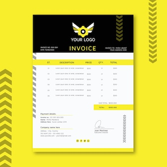 Mechanic invoice template Free Vector