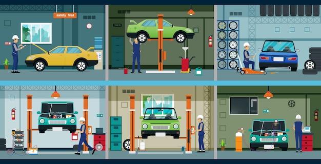 整備士は工具でガレージの車を修理しています