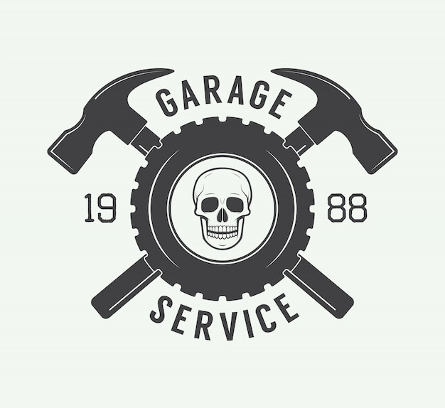 Mechanic label, emblem and logo.
