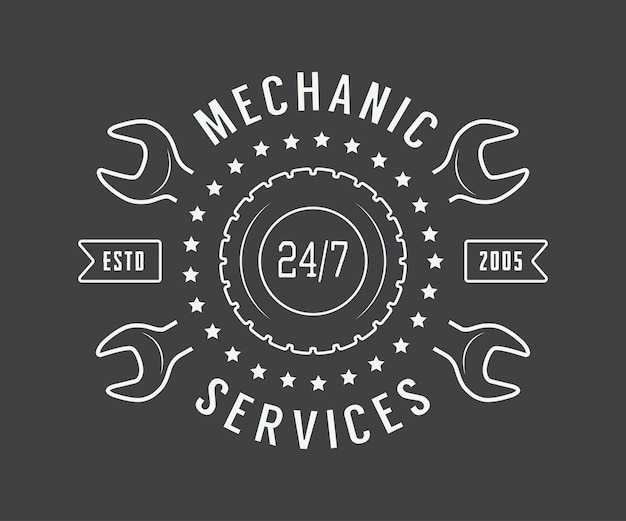 Mechanic label, emblem