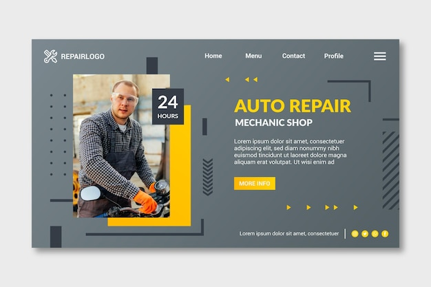 Mechanic landing page template with photo