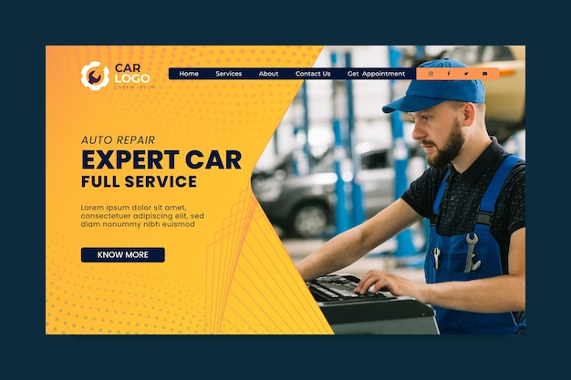 Mechanic landing page template
