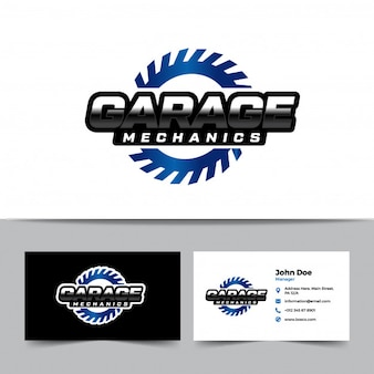 Mechanic logo and business card template