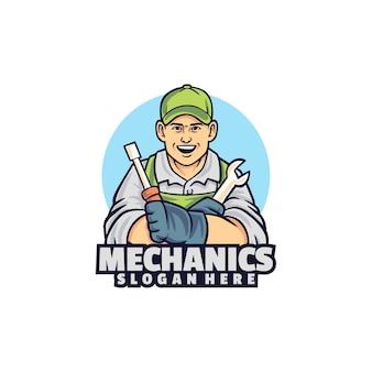 白で隔離されるメカニックのロゴ