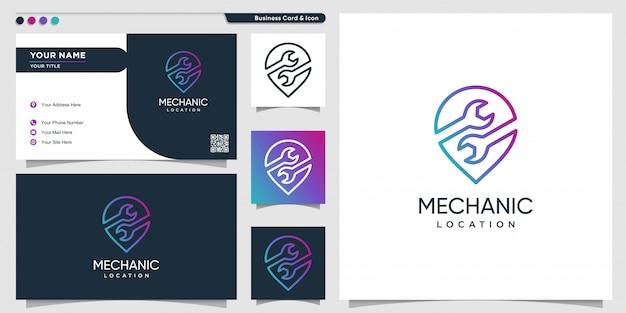 グラデーションラインアートスタイルと名刺デザインテンプレートでメカニックのロゴの場所