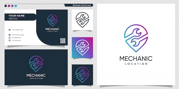 Mechanic logo location with gradient line art style and business card design template