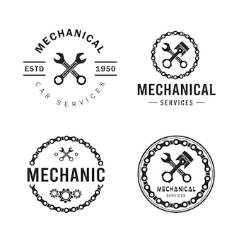 Mechanic logo set, services, engineering, repair.