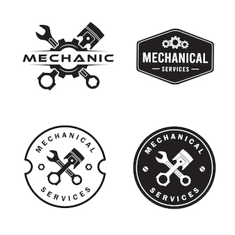 Mechanic logo set, services, engineering, repair