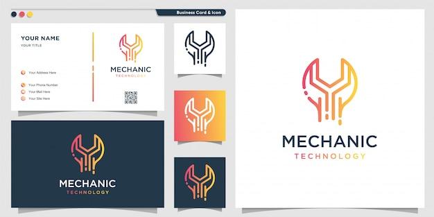 グラデーションラインアートスタイルと名刺デザインテンプレート、修理、グラデーション、サービスのメカニックロゴ技術