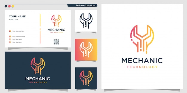 Mechanic logo technology with gradient line art style and business card design template, repair, gradient, service