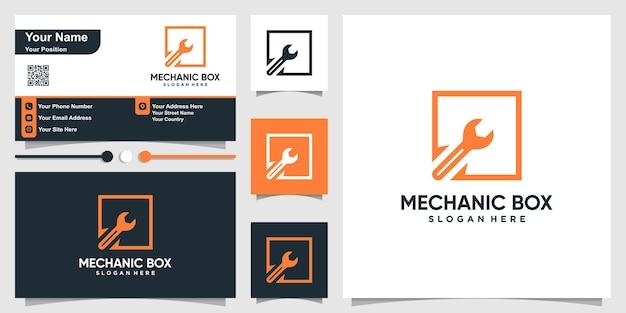 Механик логотип с стилем контура квадратной коробки и бизнесом