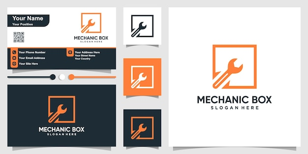 Mechanic logo with square box outline style and business