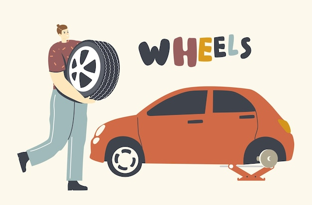 壊れた車のホイールを修理するメカニックまたはドライバーのキャラクター、スペアタイヤを手に持っている男