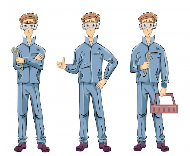 Механик или слесарь-сантехник держит гаечный ключ, ящик для инструментов и показывает палец вверх жестом. набор иллюстраций, на белом фоне.