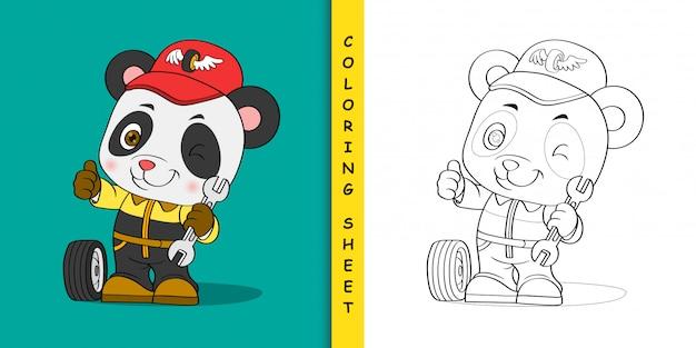 Mechanic panda cartoon, coloring sheet