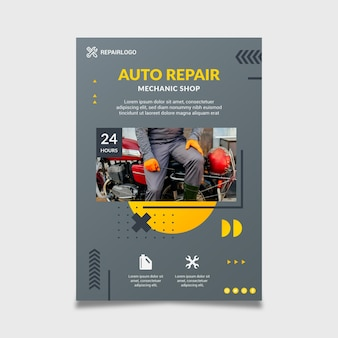Mechanic poster template with photo