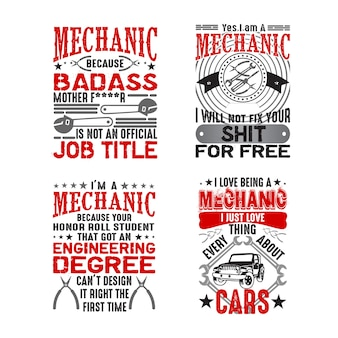 Mechanic quote and saying set