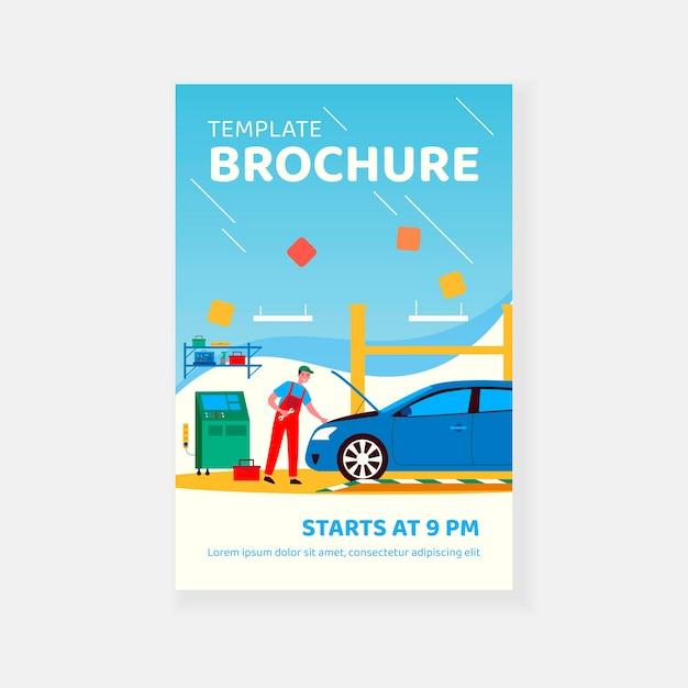 Mechanic repairing car in garage isolated flat vector illustration brochure template