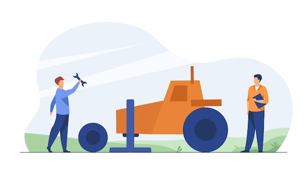 Meccanico che ripara il trattore agricolo all'esterno. cambio di ruota, pneumatico, utensile. illustrazione del fumetto