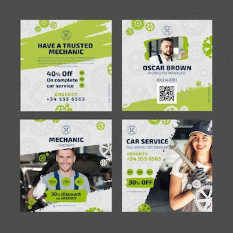 Mechanic and service instagram posts template