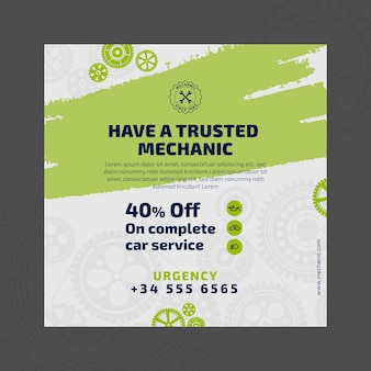 Mechanic and service square flyer template