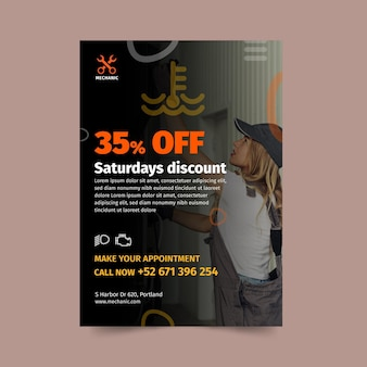 Mechanic shop flyer template