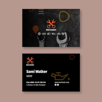 Mechanic shop horizontal business card template
