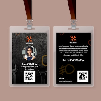 Mechanic shop id card template