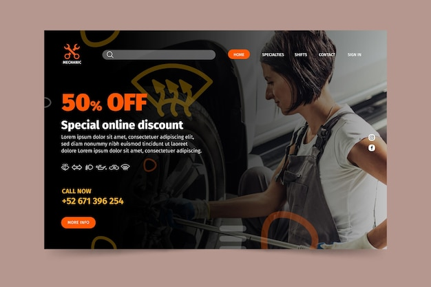 Mechanic shop landing page template