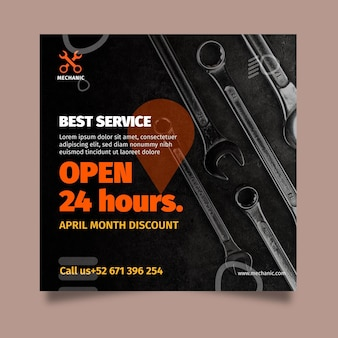 Mechanic shop square flyer template