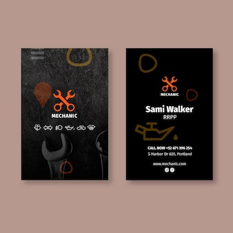 Mechanic shop vertical business card template