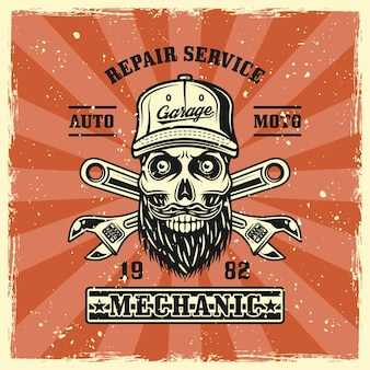 Mechanic skull in cap and two crossed adjustable wrenches emblem, badge, label, logo or t-shirt print in vintage colored style. vector illustration with grunge textures on separate layers