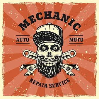 Mechanic skull and two crossed adjustable wrenches emblem, badge, label, logo or t-shirt print in vintage colored style. vector illustration with grunge textures on separate layers