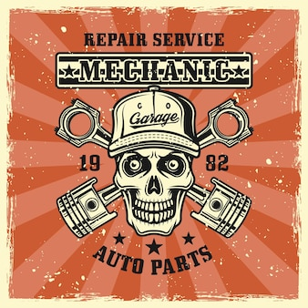 Mechanic skull and two crossed pistons emblem, badge, label, logo or t-shirt print in vintage colored style. vector illustration with grunge textures on separate layers