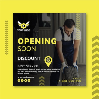 Mechanic square flyer template with photo