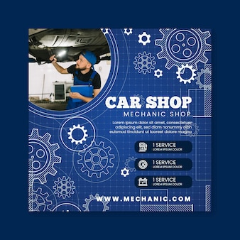 Mechanic square flyer template