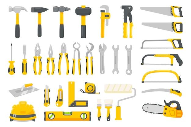 정비사 도구 세트 벡터입니다. 흰색 배경에 고립 된 집 수리 건설 도구