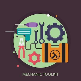 Mechanic toolkit design Free Vector