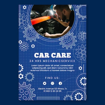 Mechanic vertical poster template