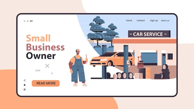 Mechanic working and fixing vehicle car service automobile repair and check up maintenance station concept horizontal landing page copy space vector illustration