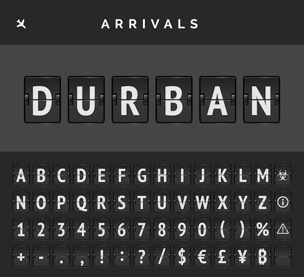 Mechanical airport flip board font and airplane arrivals sign. vector flight info of destination in durban in africa.