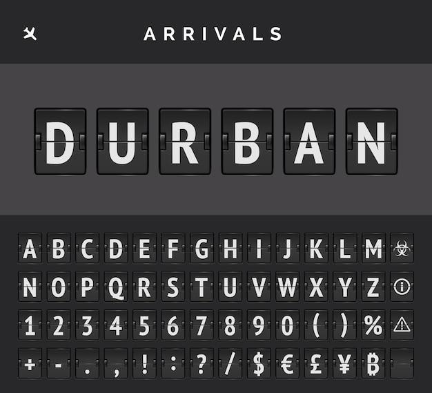 Механический шрифт откидной доски аэропорта и знак прибытия самолетов. вектор полетной информации пункта назначения в дурбане в африке.